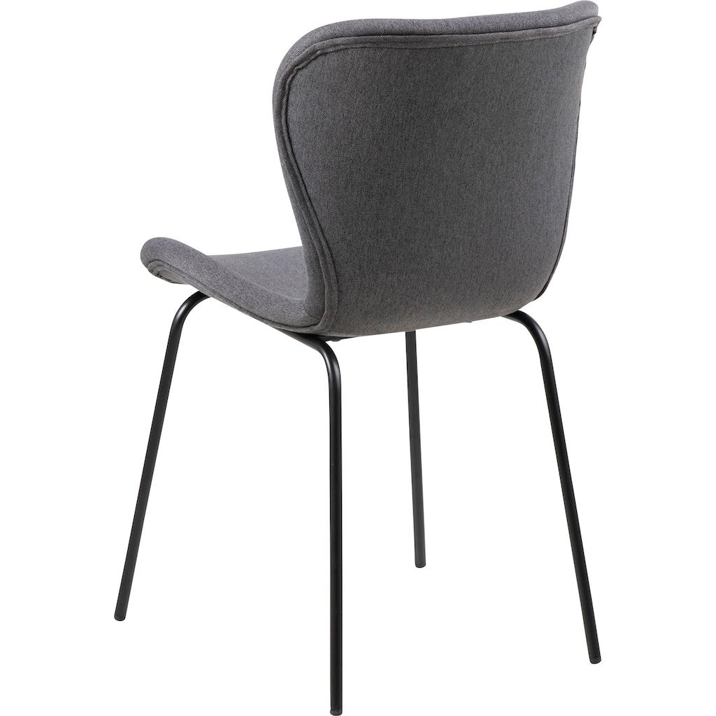 andas Esszimmerstuhl »Britta«, 2er Set, mit einem pflegeleichten Webstoff Bezug, schwarzen Metallbeinen, Sitzhöhe 47 cm