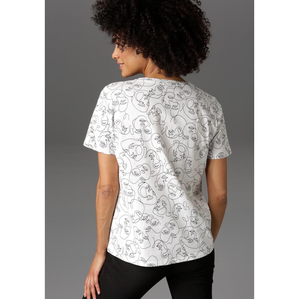 Aniston CASUAL T-Shirt, mit abstrakten Gesichtern bedruckt - NEUE KOLLEKTION