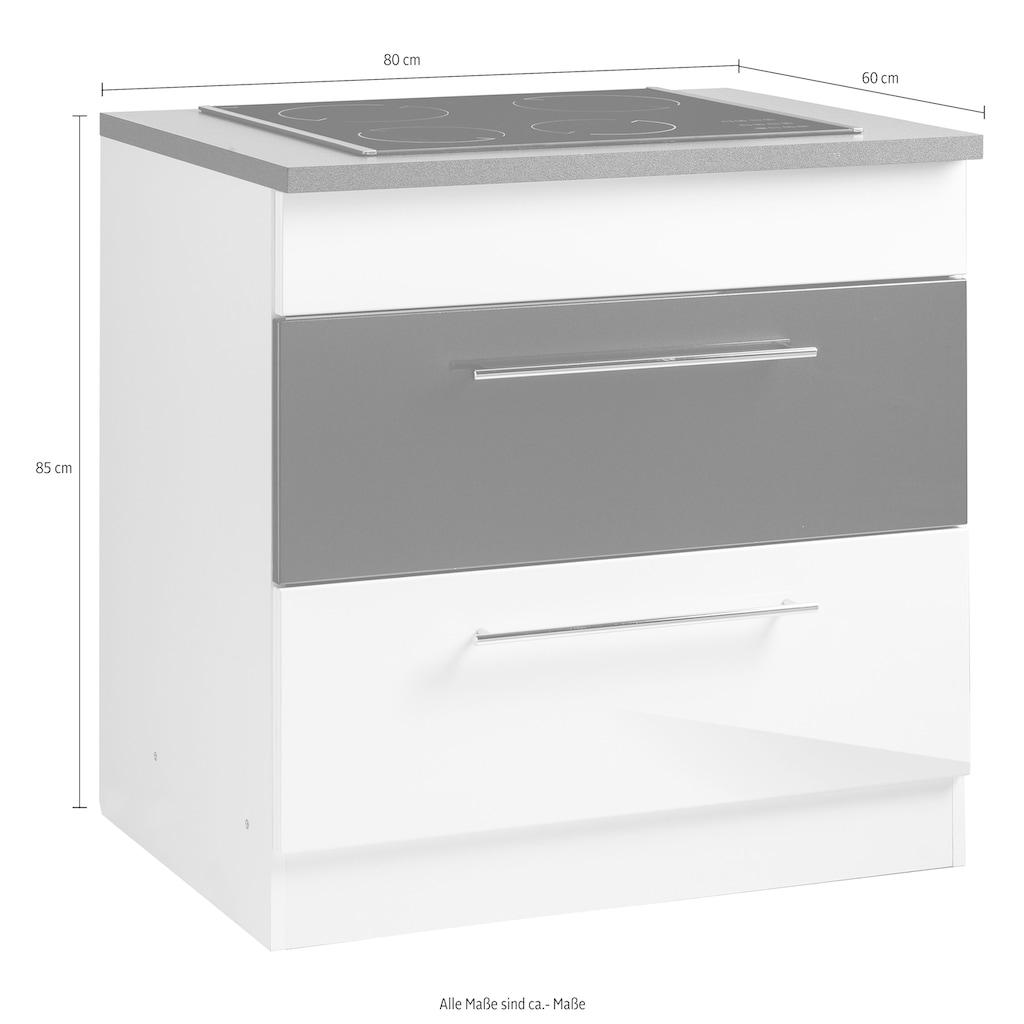 HELD MÖBEL Kochfeldumbauschrank »Trient«, 80 cm breit, mit 2 großen Auszügen