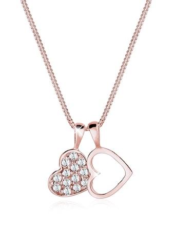 Elli Collierkettchen »Herz Duo Funkelnd Kristalle 925 Silber« kaufen