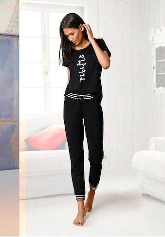 s.Oliver Bodywear Pyjama, mit gestreiften Rippbündchen kaufen