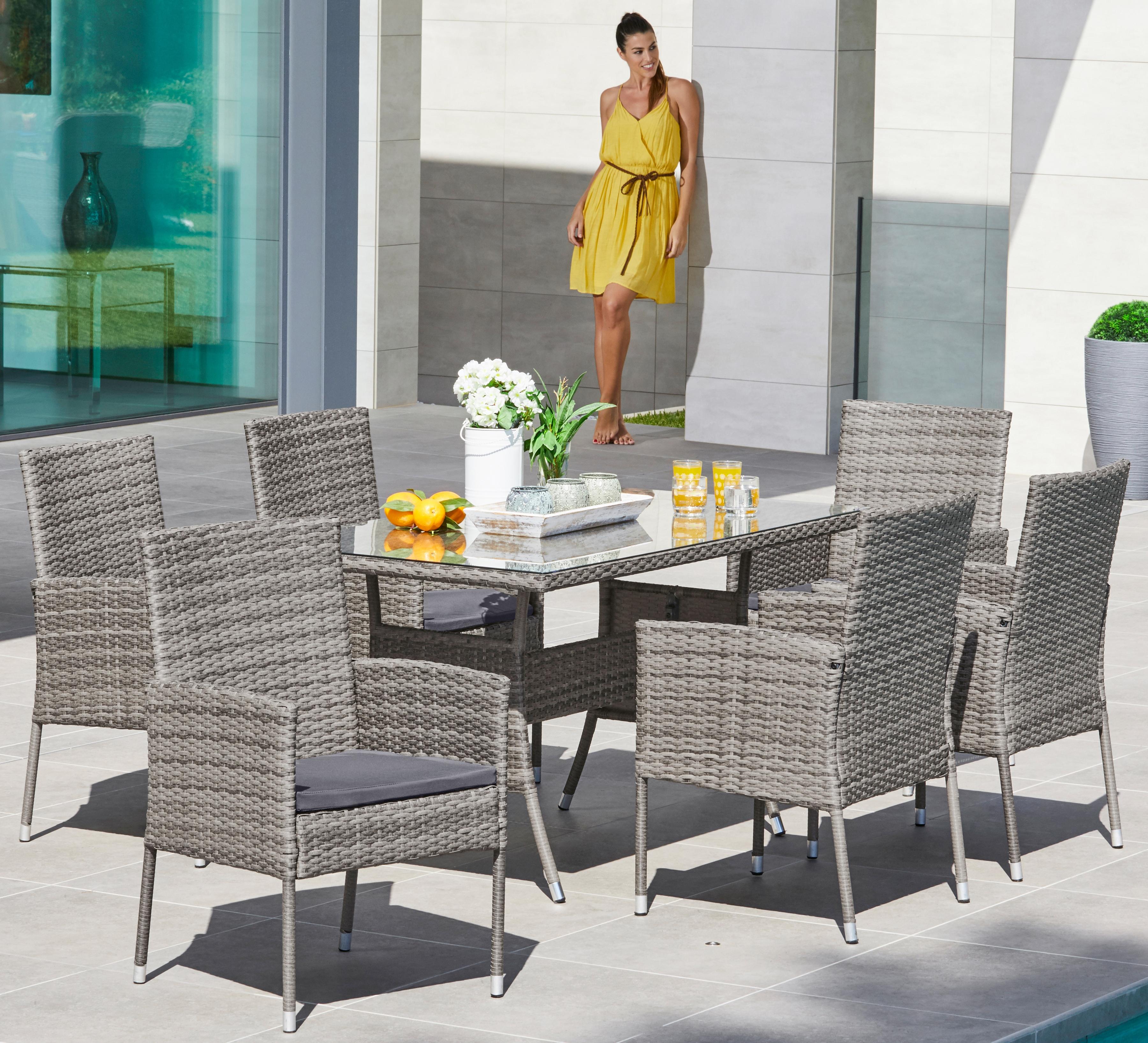 MERXX Gartenmöbelset Costa Rica 13-tlg 6 Sessel Tisch 140x80 cm Polyrattan