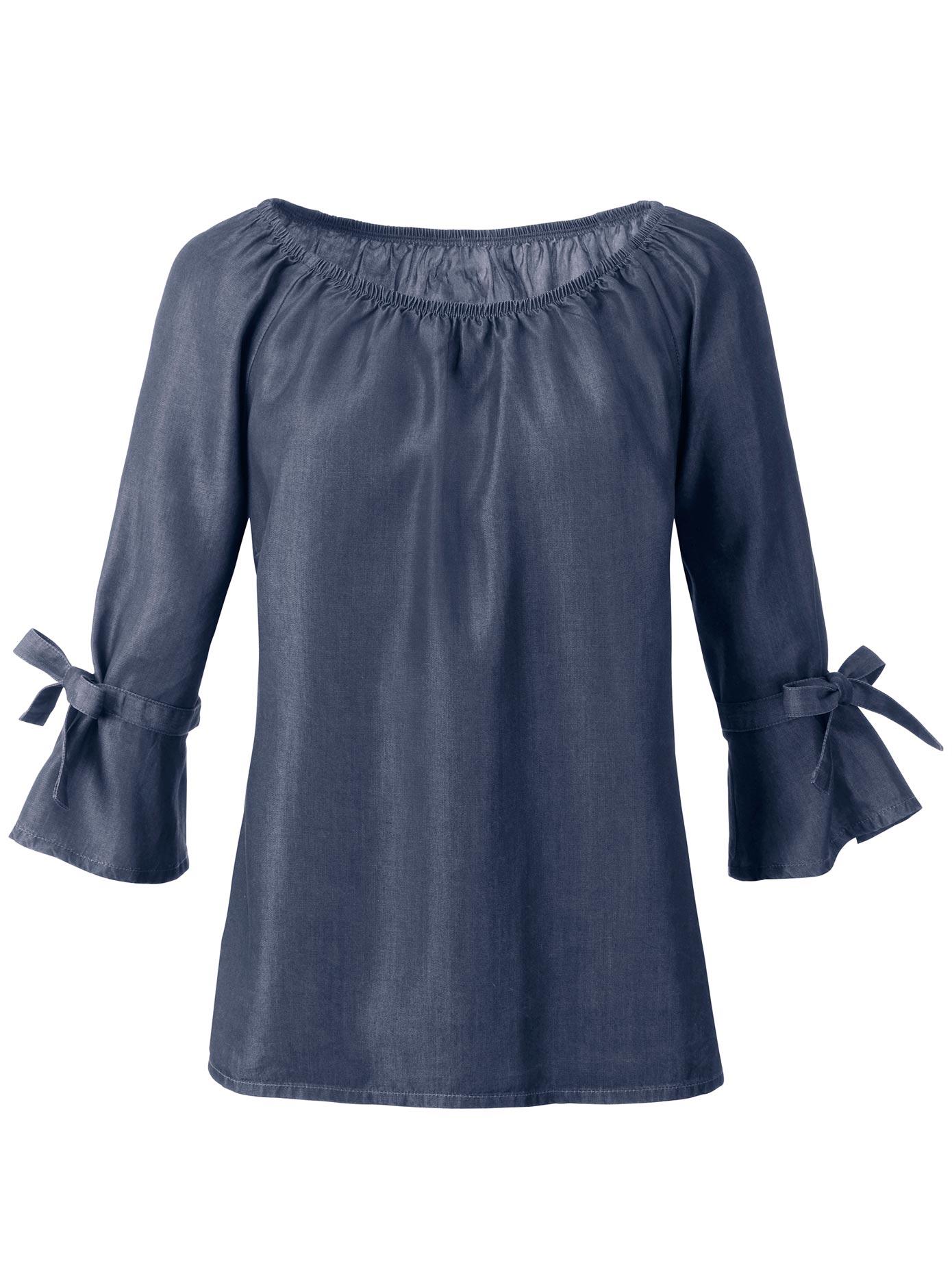 création L Bluse mit elastischem Gummizug im Ausschnitt