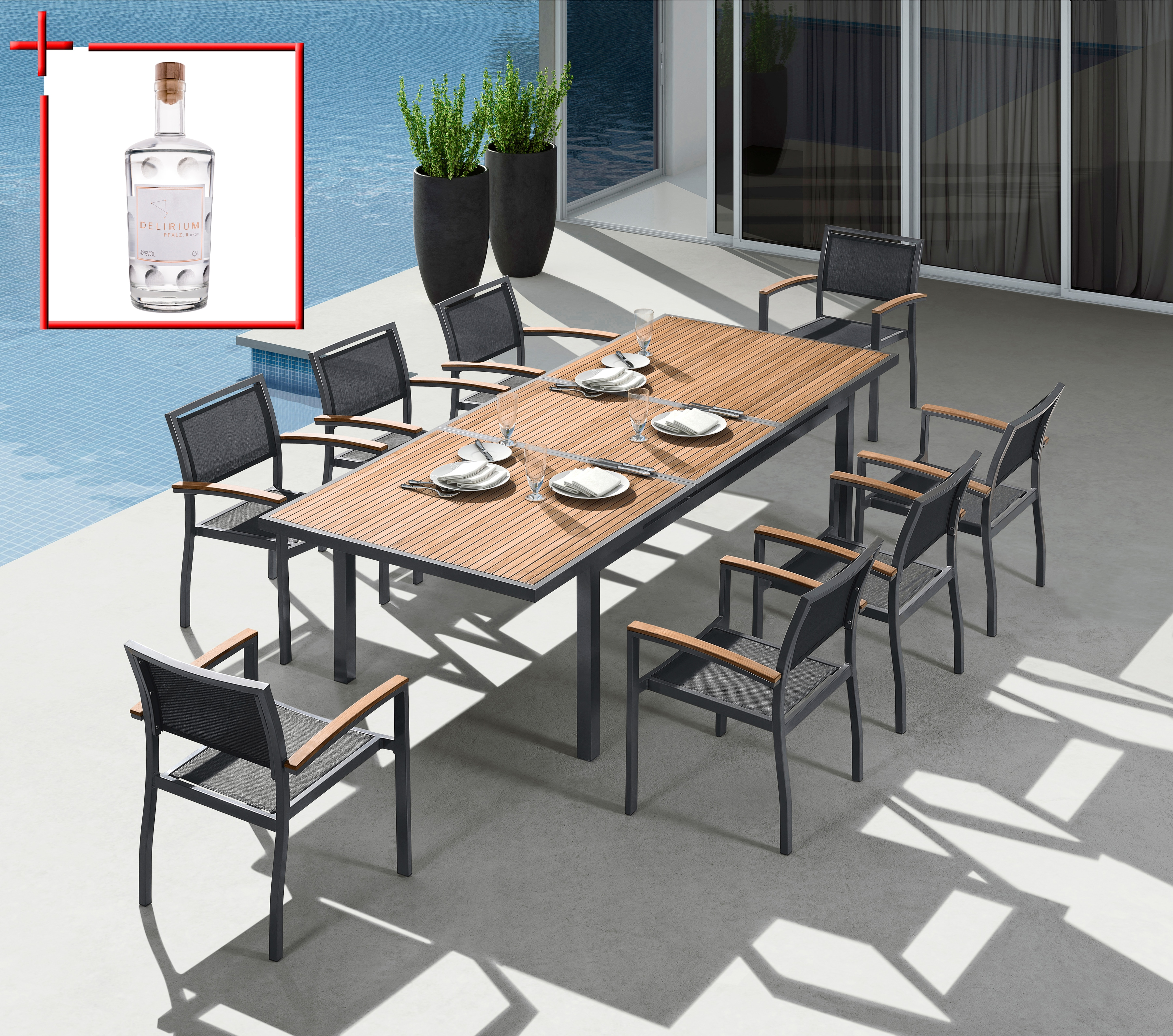 BELLASOLE Gartenmöbelset »Melbourne«, 9-tlg., 8 Sessel, Tisch 180-240,  Alu/Holz/Textil, schwarz auf Rechnung kaufen   BAUR