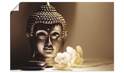 Artland Wandbild »Buddhas Kopf Ruhe mit weißen Rosen«, Religion, (1 St.), in vielen... kaufen