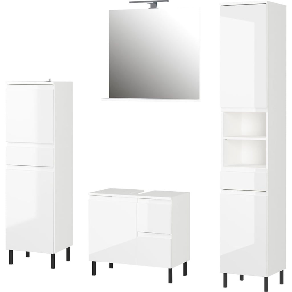 GERMANIA Badmöbel-Set »Scantic«, (Set, 4 St.), aus Midischrank, Spiegel, Waschbeckenunterschrank, Hochschrank, inklusive Beleuchtung, grifflose Optik, MDF-Fronten