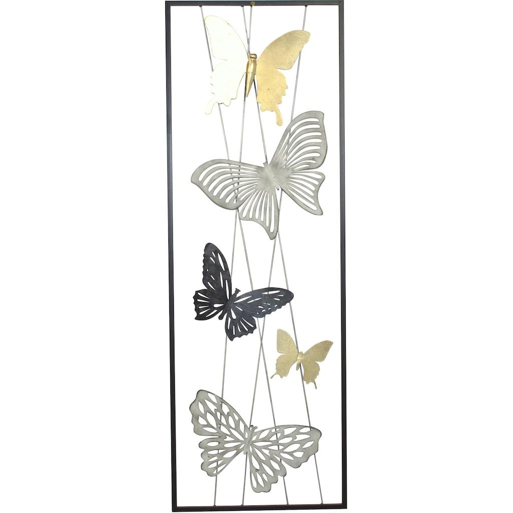 HOFMANN LIVING AND MORE Wanddekoobjekt, Wanddekoration aus Metall, Motiv Schmetterlinge