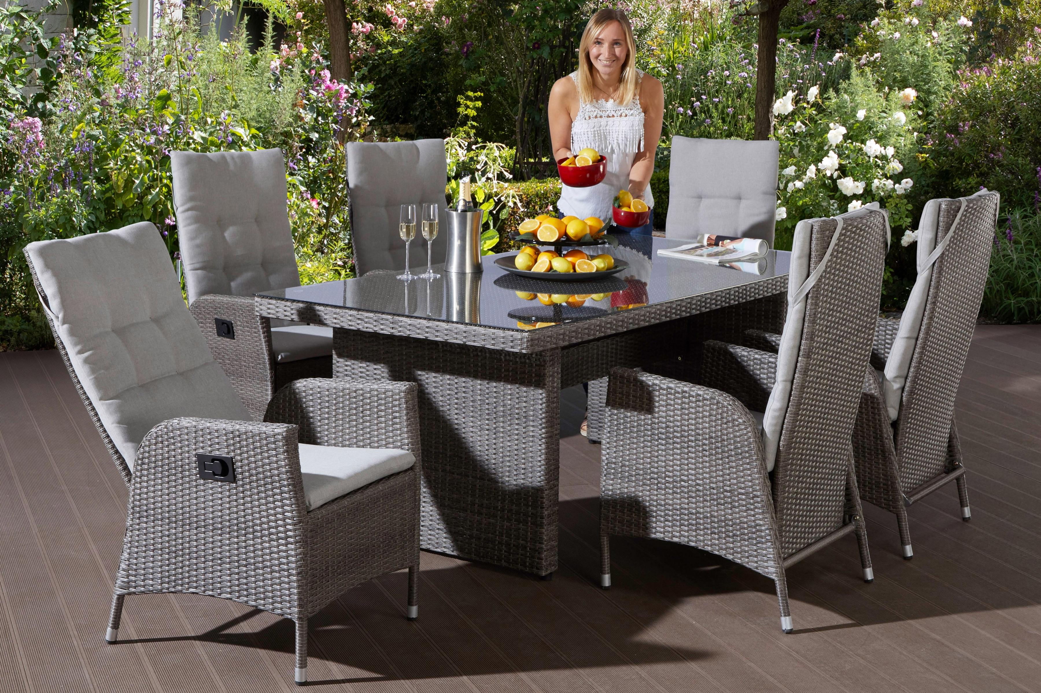 MERXX Gartenmöbelset Dimaro 13-tlg 6 Sessel Tisch 200x100 Polyrattan