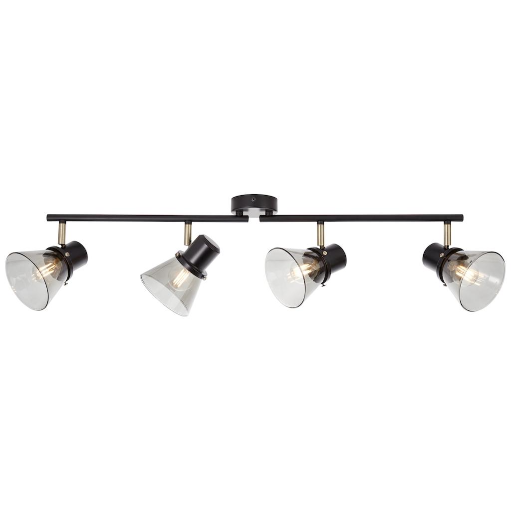 Brilliant Leuchten Ronald Spotrohr 4flg schwarz/antik messing/Rauchglas