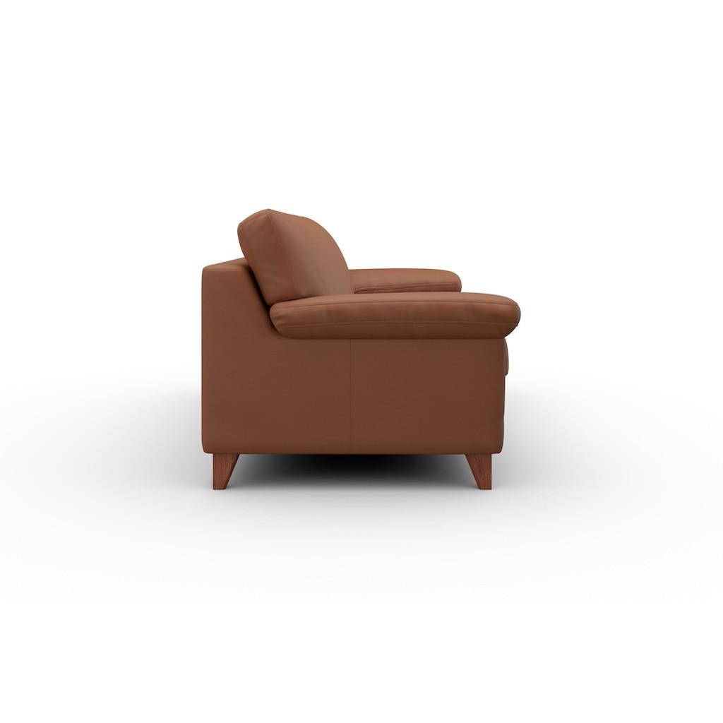 machalke® 3-Sitzer »diego«, mit weichen Armlehnen, Füße wengefarben, Breite 225 cm, mit GRATIS Ledertasche