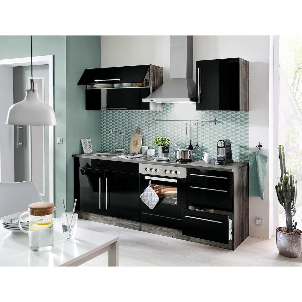HELD MÖBEL Winkelküche »Samos«, mit E-Geräten, Stellbreite 260 x 270 cm mit Stangengriffen aus Metall