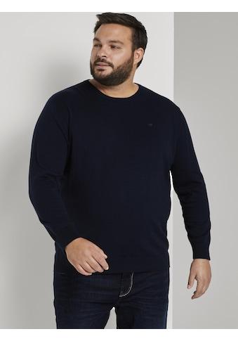 TOM TAILOR Men Plus Strickpullover »Basic Pullover mit Logo-Stickerei« kaufen