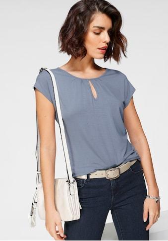 Tamaris Kurzarmshirt, mit Lochdetail am Ausschnitt - NEUE KOLLEKTION kaufen
