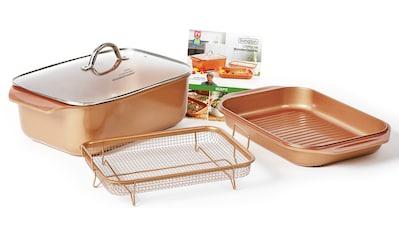 LIVINGTON Bräter »Cooperline Wonder Cooker«, Aluminium, (Set, 5 tlg.), inkl. Grillpfanne, Glasdeckel, Cooper Crisper, Rezeptheft, Induktion kaufen