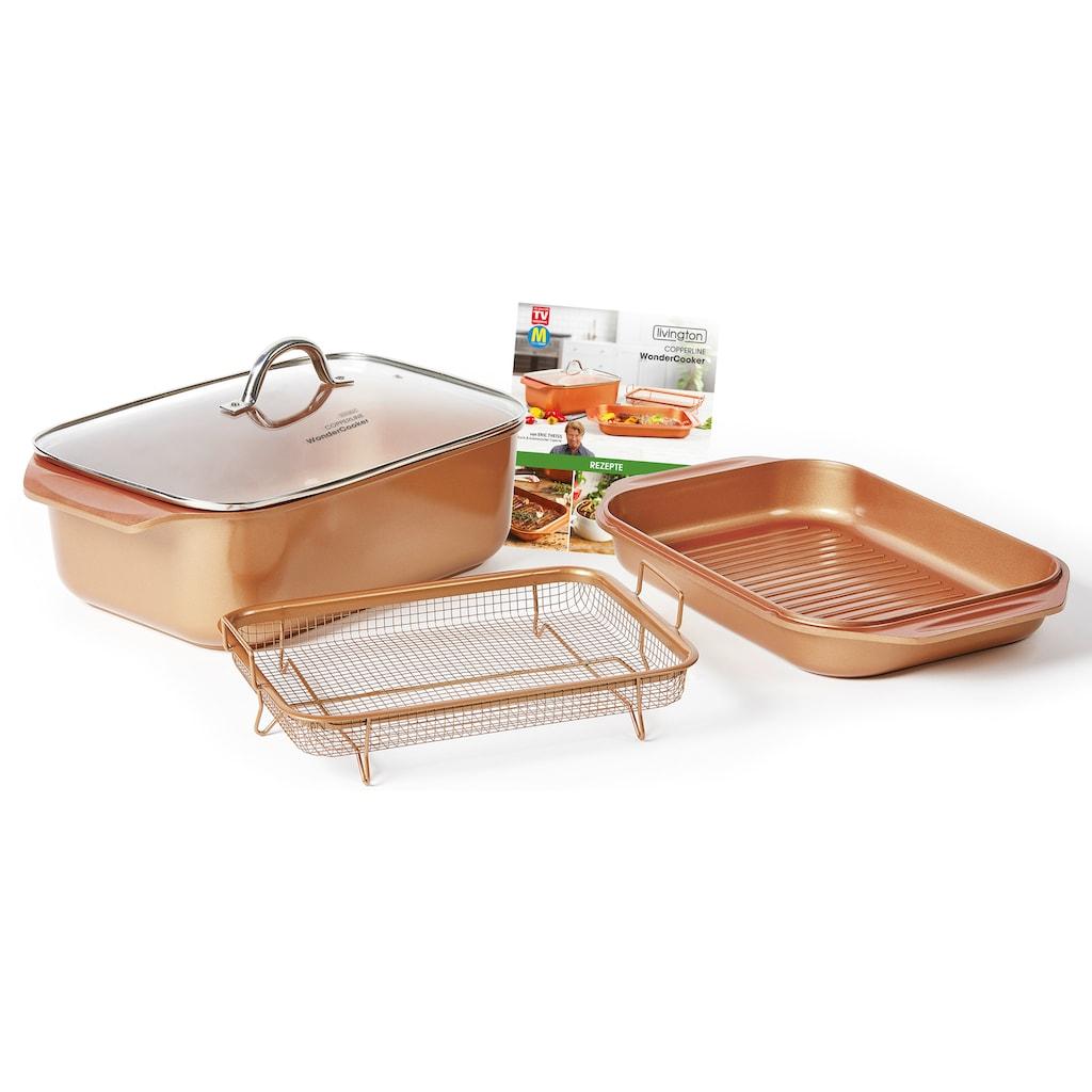 LIVINGTON Bräter »Cooperline Wonder Cooker«, Aluminium, (Set, 5 tlg.), inkl. Grillpfanne, Glasdeckel, Cooper Crisper, Rezeptheft, Induktion