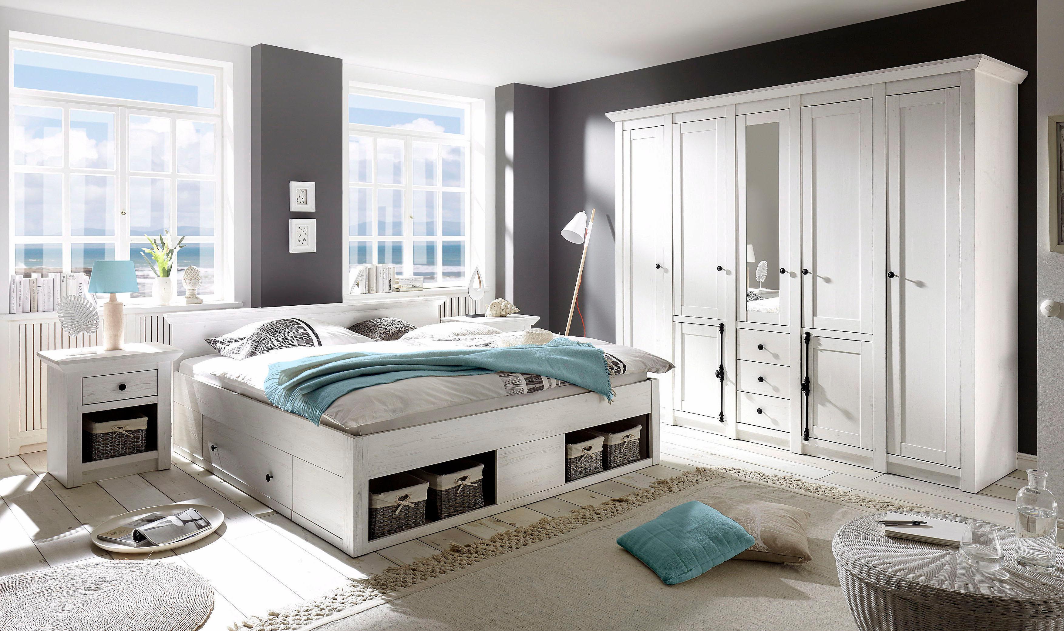 Home affaire Schlafzimmer-Set California 4-teilig: Bett 180 cm 2 Nachttische 5-trg Kleiderschrank