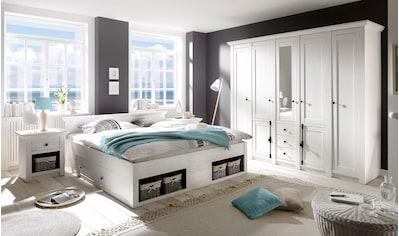 Home affaire Schlafzimmer-Set »California«, (Set, 4 tlg.), groß: Bett 180 cm, 2 Nachttische, 5-trg Kleiderschrank kaufen