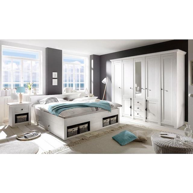 Home affaire Schlafzimmer-Set »California«, 4-teilig: Bett 180 cm, 2 Nachttische, 5-trg. Kleiderschrank
