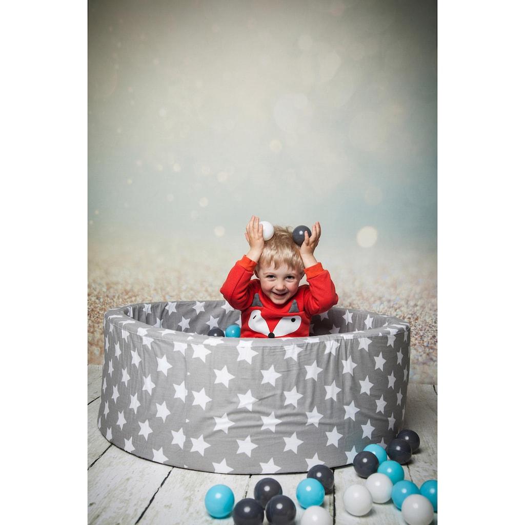 Knorrtoys® Bällebad »Soft, Grey white stars«, mit 300 Bällen creme/grey/lightblue; Made in Europe