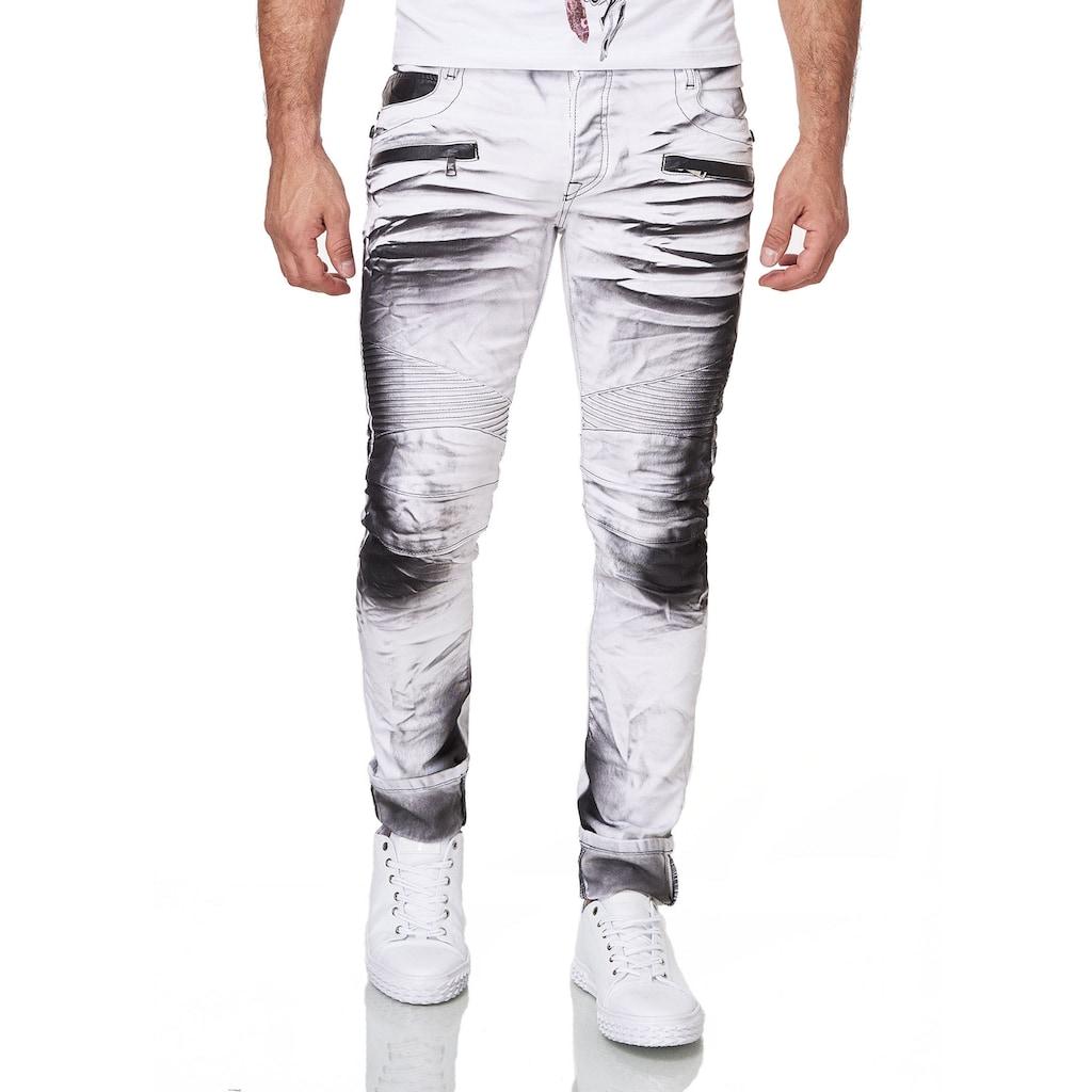 KINGZ Slim-fit-Jeans, im Batik-Look