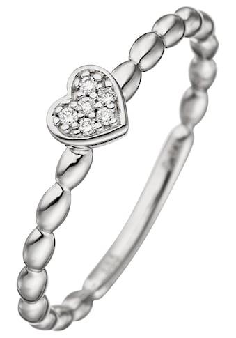 JOBO Diamantring, Herz 585 Weißgold mit 6 Diamanten kaufen