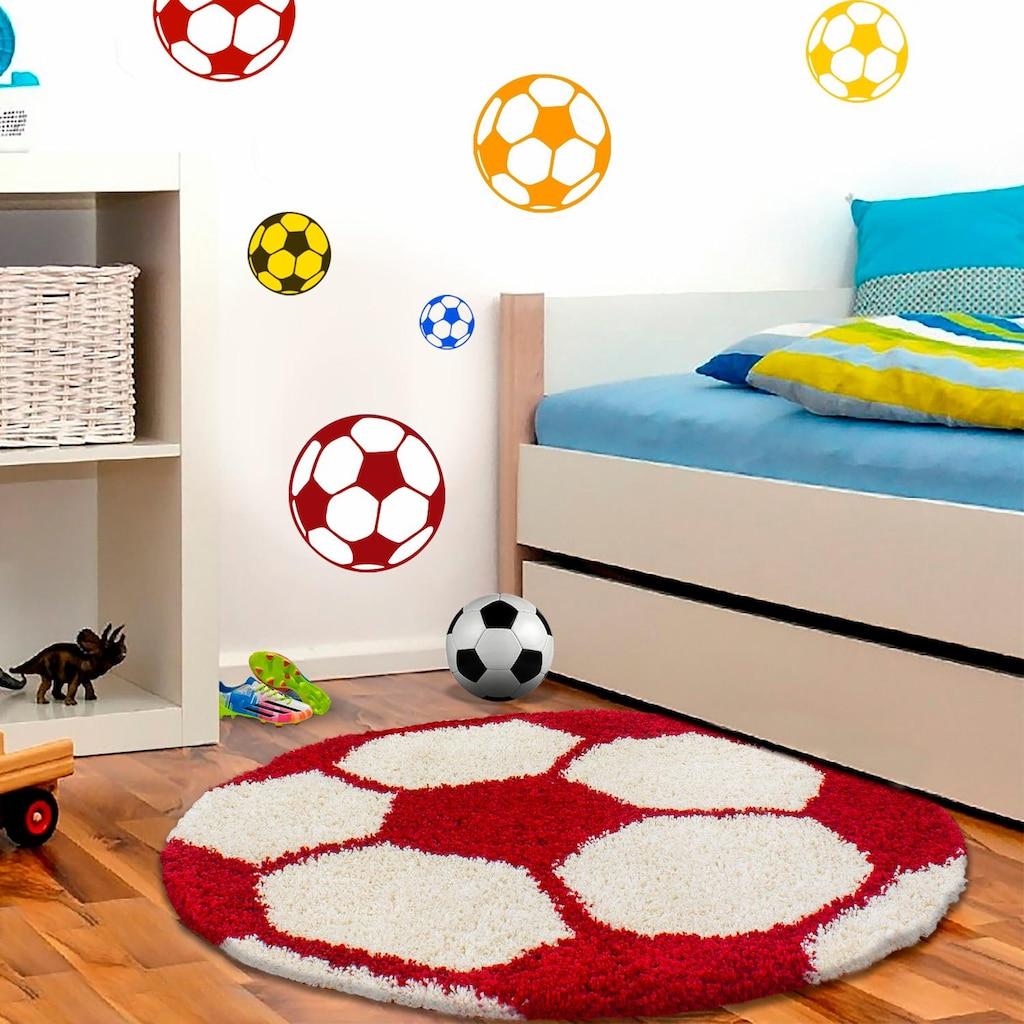 Ayyildiz Kinderteppich »Fun 6001«, rund, 30 mm Höhe, Fußball Design