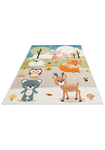 Lüttenhütt Kinderteppich »Wald«, rechteckig, 13 mm Höhe, Motiv Tiere, Pastellfarben,... kaufen
