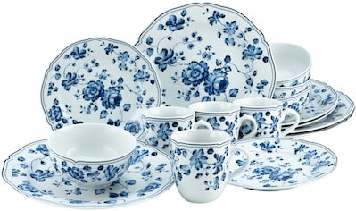CreaTable Kombiservice »ROYAL BLUE FLOWER«, (Set, 16 tlg., 4 Speiseteller 26 cm 4... kaufen