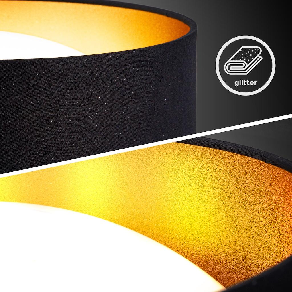 B.K.Licht LED Deckenleuchte, LED-Board, Neutralweiß, LED Deckenlampe Sternenlicht Glitzer Textilschirm Stoff Leuchte 12W schwarz-gold