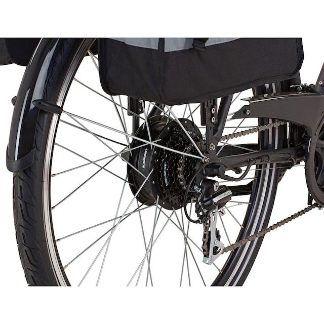 Prophete E-Bike »Entdecker e900«, 24 Gang Shimano Acera Schaltwerk, Kettenschaltung, Heckmotor 250 W (Set, 3-tlg., mit Fahrradtaschen)