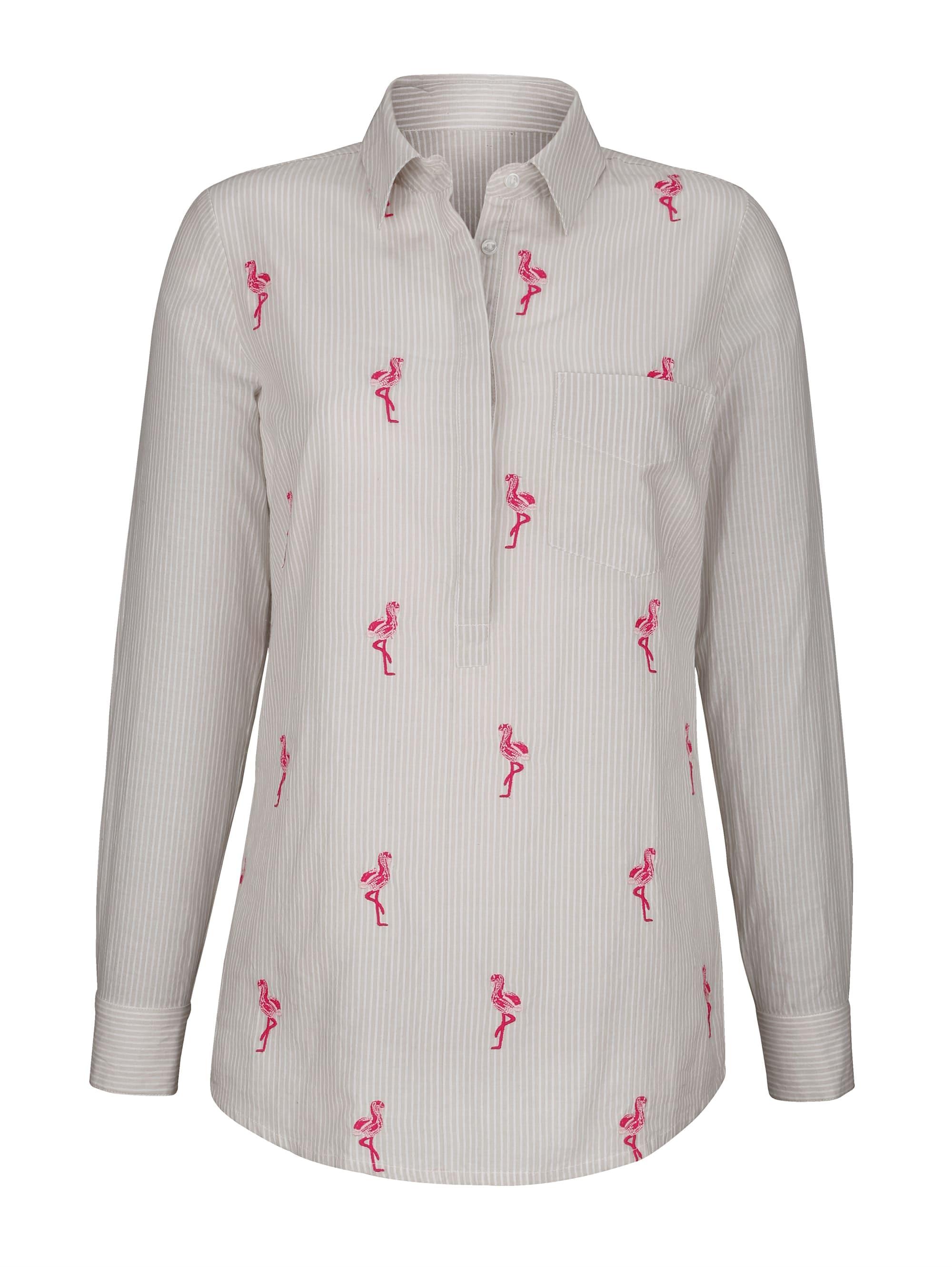 Laura Kent Bluse mit Flamingo-Stickerei