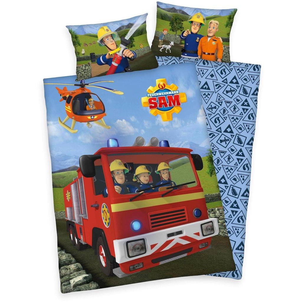 Feuerwehrmann Sam Babybettwäsche »Feuerwehrmann Sam«, mit Löschzug und Helikopter