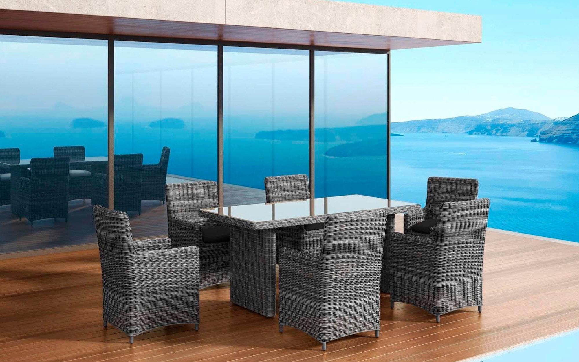 BAIDANI Gartenmöbelset Essence grau 13-tlg 6 Stühle Tisch 90x180 cm Alu/Polyester