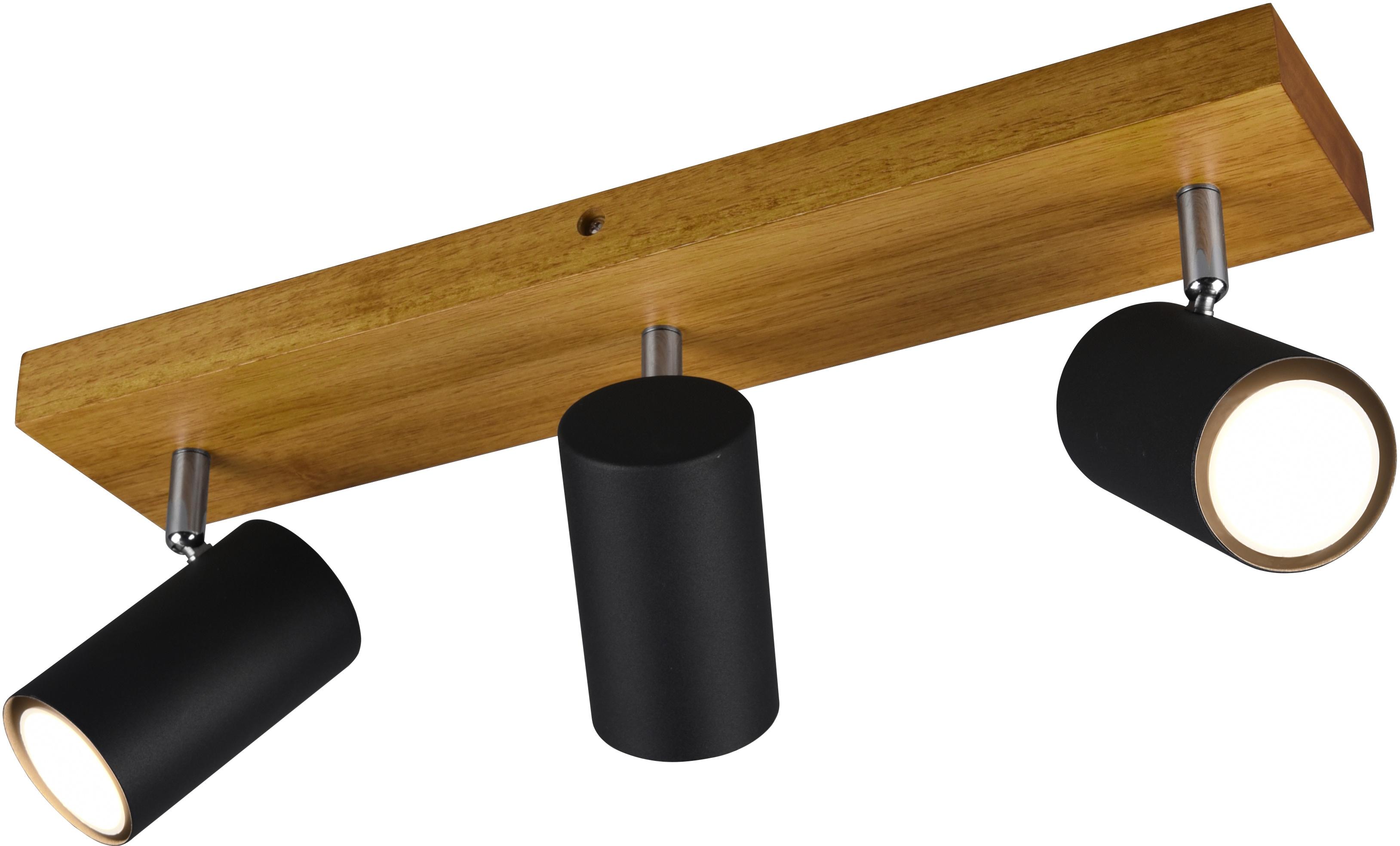 TRIO Leuchten Deckenstrahler Marley, Deckenspot, GU10, 1 St., mit Holz Baldachin, Strahler dreh- und schwenkbar, GU10 Leuchtmittel frei wählbar