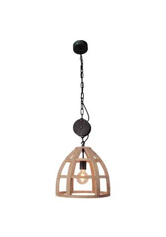 Brilliant Leuchten Matrix Wood Pendelleuchte 34cm antik holz/schwarz korund kaufen