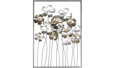 GILDE Wanddekoobjekt »Wandrelief Fleurs, braun/champagnerfarben«, Wanddeko, aus Metall, Blumen, Wohnzimmer kaufen