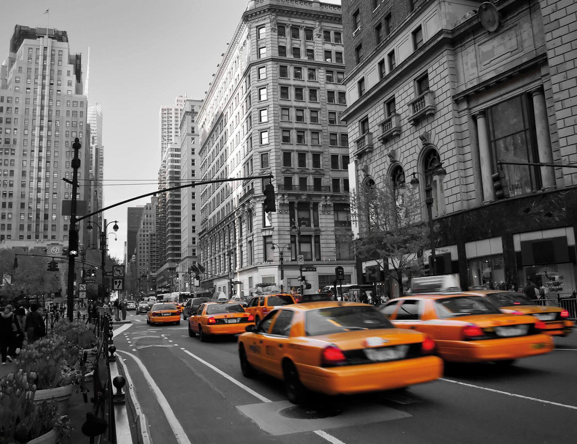 Vliestapete Cabs in Manhattan schwarz Fototapeten Tapeten Bauen Renovieren