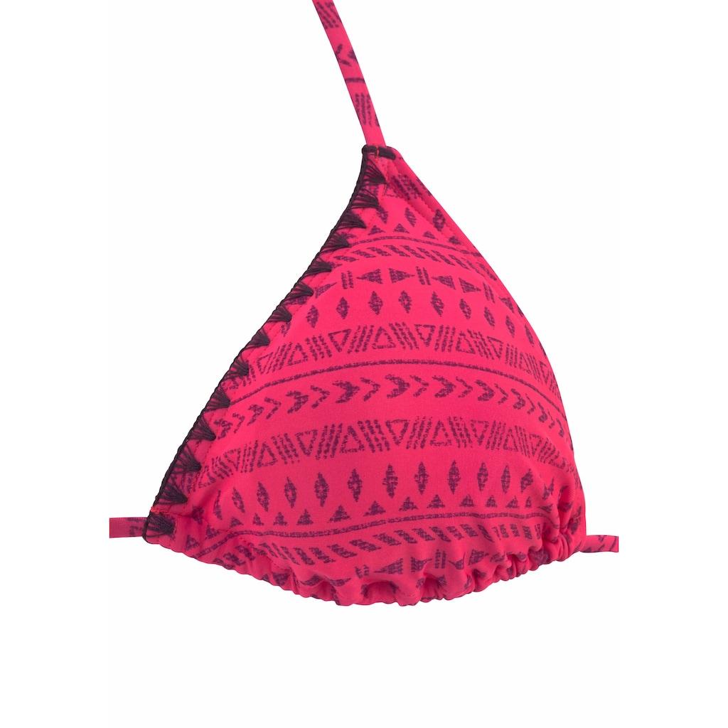 Buffalo Triangel-Bikini, gemustert mit Häkelkante