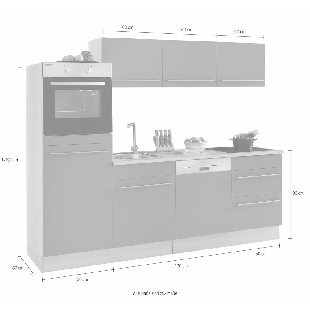 OPTIFIT Küchenzeile »Bern«, (Spar-Set), mit E-Geräten, Breite 240 cm mit höhenverstellbaren Füßen, gedämpfte Türen und Schubkästen, Metallgriffe
