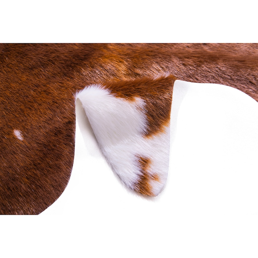 my home Fellteppich »Rinder-Fell Imitat«, fellförmig, 20 mm Höhe, Kunstfell, Kuhfell-Optik, Wohnzimmer