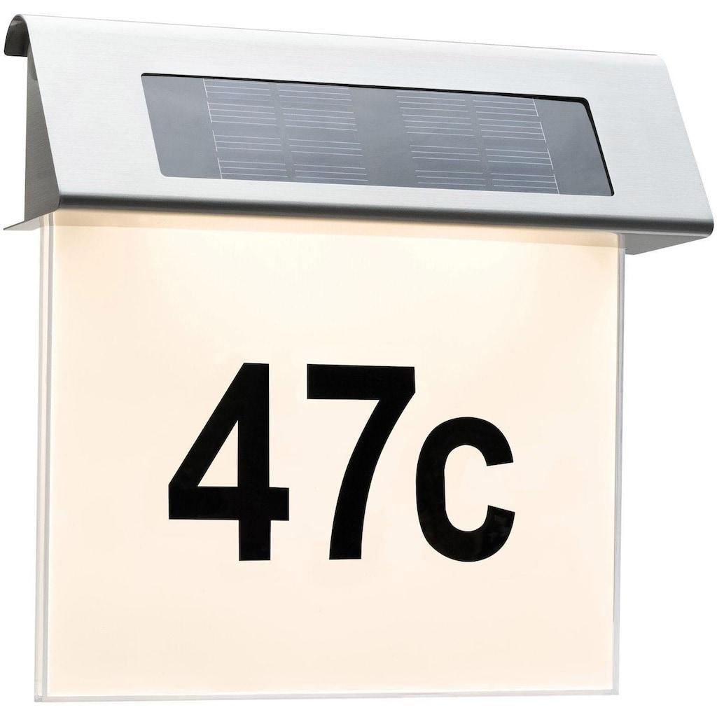 Paulmann LED Außen-Wandleuchte »Solar Hausnummer LED Edelstahl Weiß 0,2W«, Warmweiß