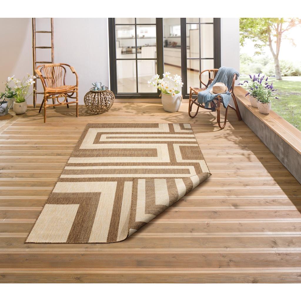 Bruno Banani Teppich »Cannes«, rechteckig, 3 mm Höhe, In- und Outdoor geeignet, Wendeteppich, Wohnzimmer
