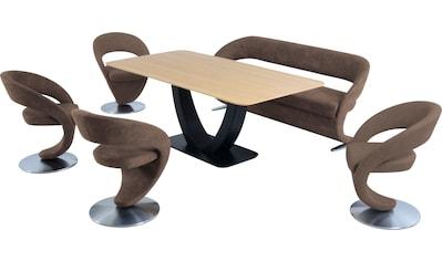 K+W Komfort & Wohnen Essgruppe »Wave«, (Set), Design-Solobank mit 4 Design-Drehstühlen... kaufen