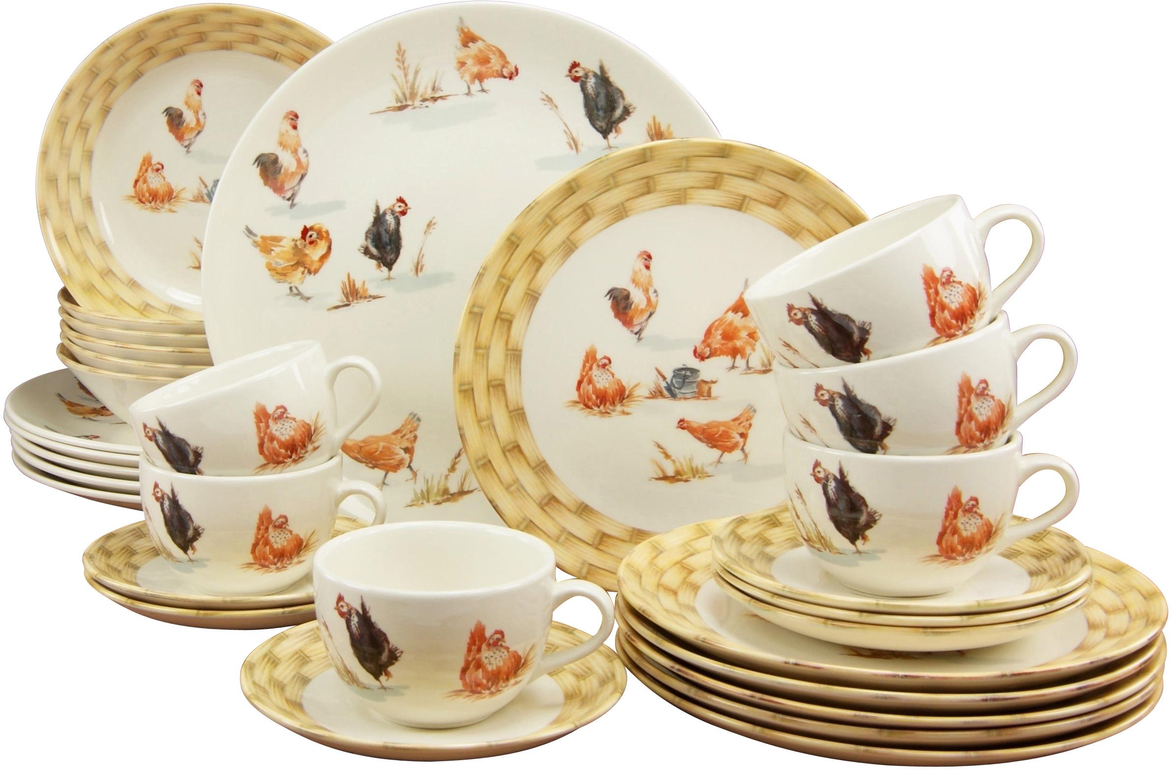 CreaTable Kombiservice Animal Farm, (Set, 30 tlg.), mit Hühnerdekor weiß Geschirr-Sets Geschirr, Porzellan Tischaccessoires Haushaltswaren
