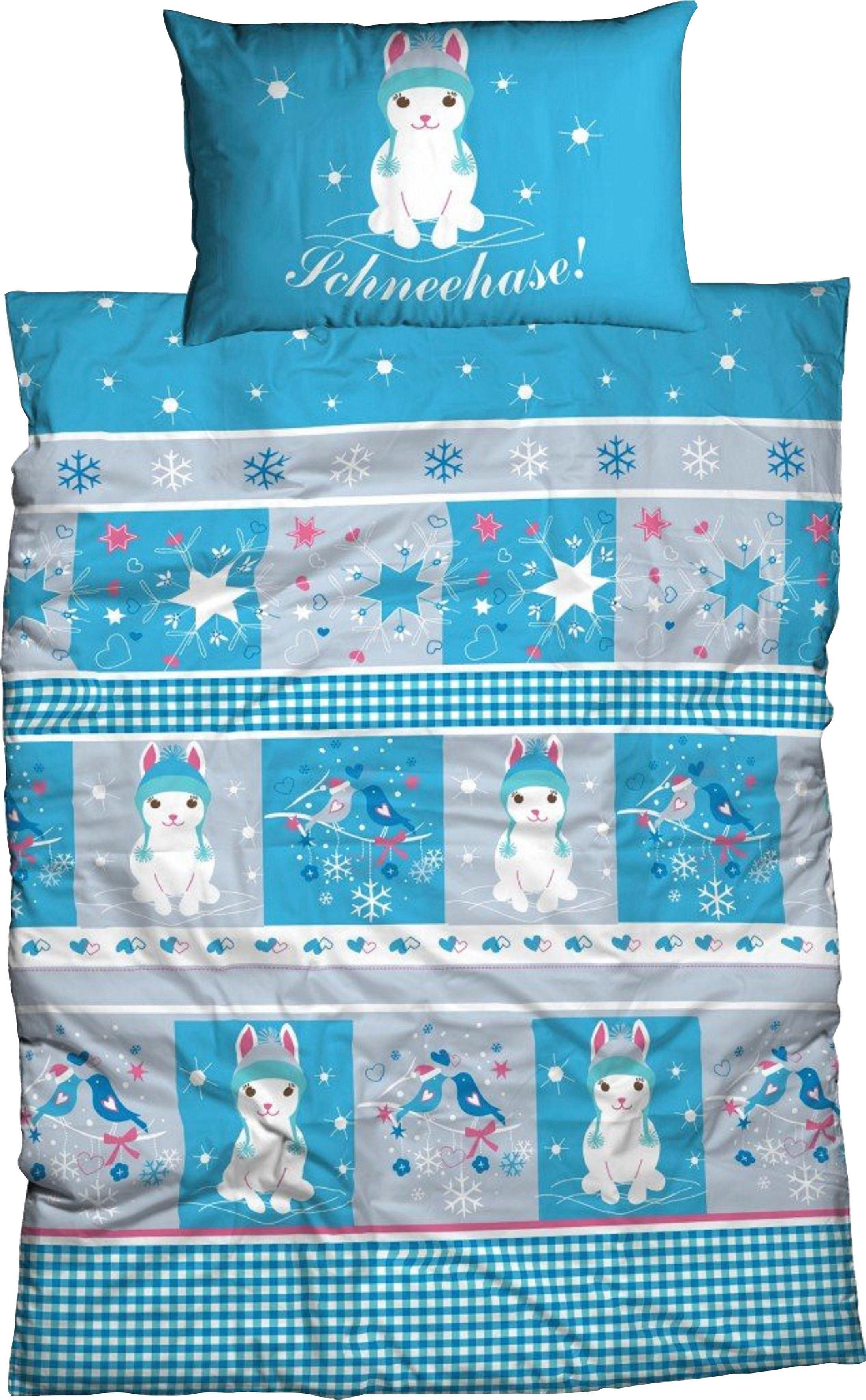 Kinderbettwäsche Schneehase ADELHEID | Kinderzimmer > Textilien für Kinder > Kinderbettwäsche | Blau | Adelheid
