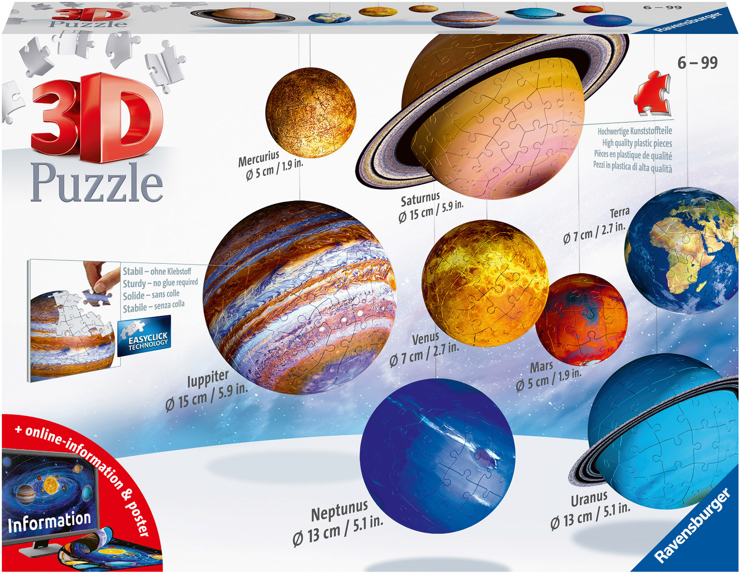 Ravensburger 3D-Puzzle Planetensystem, Made in Europe bunt Kinder Ab 6-8 Jahren Altersempfehlung Puzzles