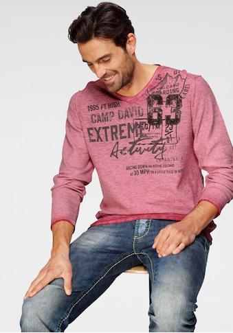CAMP DAVID V-Ausschnitt-Pullover, meliert kaufen