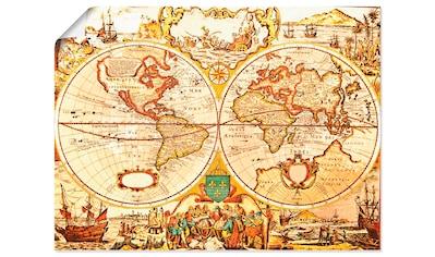 Artland Wandbild »Antike Weltkarte«, Landkarten, (1 St.), in vielen Größen & Produktarten - Alubild / Outdoorbild für den Außenbereich, Leinwandbild, Poster, Wandaufkleber / Wandtattoo auch für Badezimmer geeignet kaufen