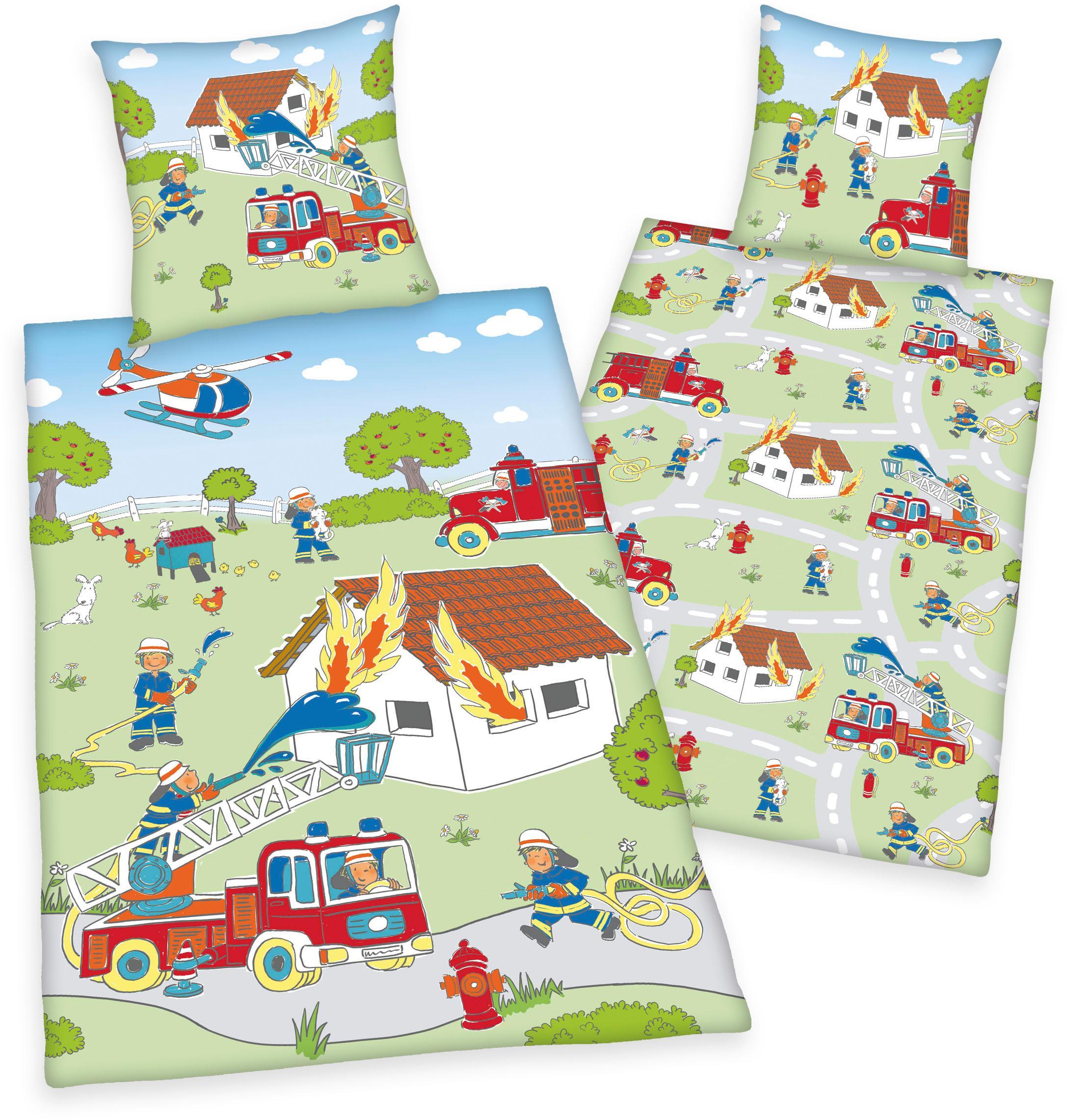 Kinderbettwäsche Young Collection Feuerwehr Herding Young Collection | Kinderzimmer > Textilien für Kinder > Kinderbettwäsche | Grün | Herding Young Collection
