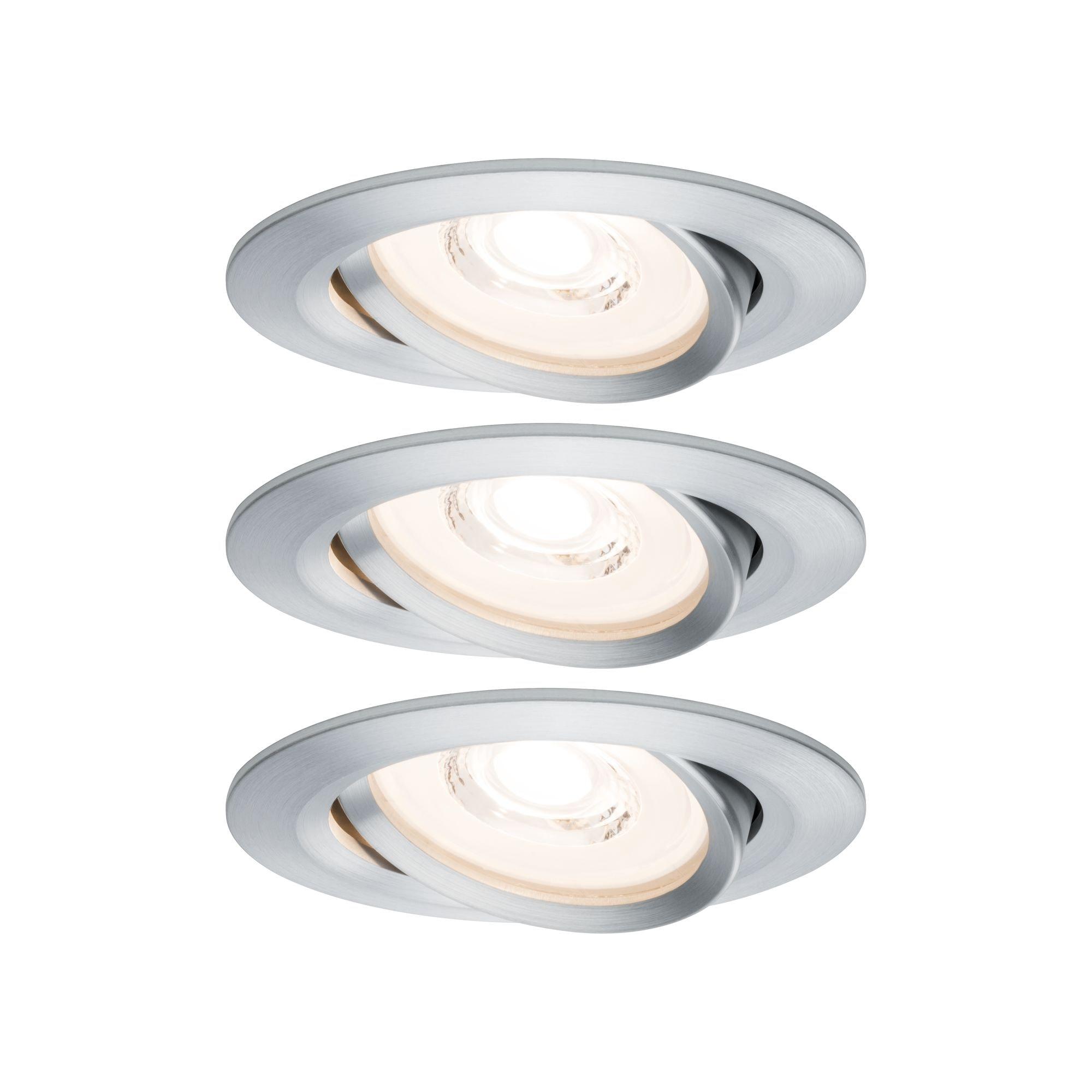 Paulmann LED Einbaustrahler dimmbar IP23 Alu 6,8W Reflector Coin schwenkbar Reflector Coin schwenkbar, 3 St., Warmweiß